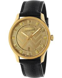 Gucci - Ya126340 G-timeless Yellow Gold Pvd And Leather Watch - Lyst