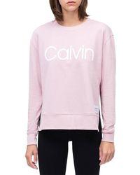 Calvin Klein Calvin Logo Long Sleeve Side Slit Crew Neck Pullover - Pink