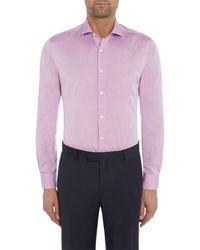 Richard James Plain Chambray Single Cuff Shirt - Purple
