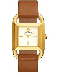 Tory Burch - Tbw7200 The Phipps Luggage Leather Women's Watch - Lyst