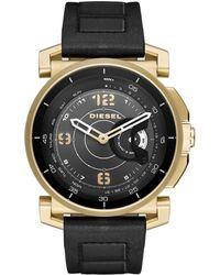 DIESEL - Sam Black And Gold Leather Hybrid Smartwatch - Lyst