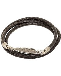 Simon Carter - Leather Wrap Bracelet Silver Feather Clasp - Lyst