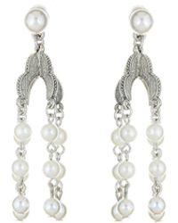 Oscar de la Renta - Pearl Drop Earring - Lyst