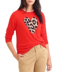 J.Crew Everyday Cashmere Crewneck Jumper With Leopard Heart - Red