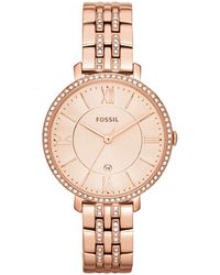 Fossil - Women's Jacqueline Rose Gold-tone Stainless Steel Bracelet Watch 36mm Es3546 - Lyst