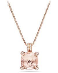 David Yurman   Chatelaine® Pendant Necklace With Diamonds In 18k Rose Gold, 11mm   Lyst