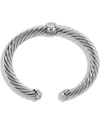 David Yurman - Cable Classics Bracelet With Diamonds And 18k White Gold, 7mm - Lyst