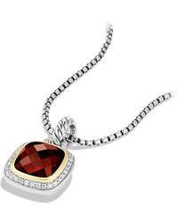 David Yurman - Albion® Pendant With Garnet, Diamonds And 18k Gold, 11mm - Lyst