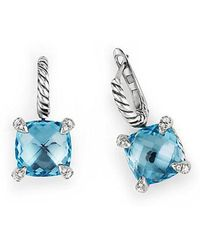David Yurman - Chatelaine® Drop Earrings With Blue Topaz And Diamonds - Lyst