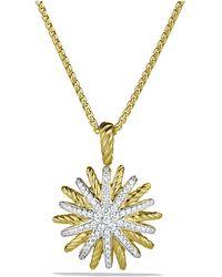 David Yurman - Starburst Small Pendant Necklace With Diamonds In 18k Gold, 18mm - Lyst