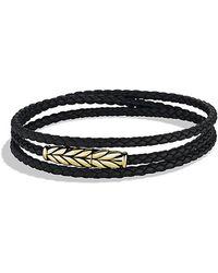 David Yurman - Chevron Triple-wrap Bracelet In Black Leather And 18k Gold - Lyst