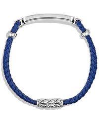 David Yurman - Exotic Stone Bar Station Bracelet In Blue Leather With Lapis Lazuli - Lyst
