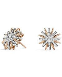 David Yurman | Starburst Earrings With Diamonds In 18k Rose Gold, 14mm | Lyst