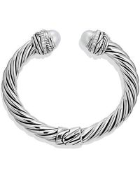 David Yurman - Cable Classic Crossover Bracelet With Pearls And Diamonds, 8.5mm - Lyst
