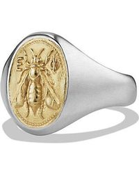 David Yurman - Petrvs Bee Signet Pinky Ring With 18k Gold - Lyst