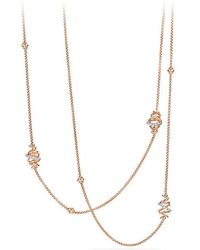 David Yurman - Crossover Station Necklace With Diamonds In 18k Rose Gold - Lyst