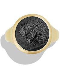 David Yurman - Petrvs Lion Signet Pinky Ring With Black Onyx In 18k Gold - Lyst