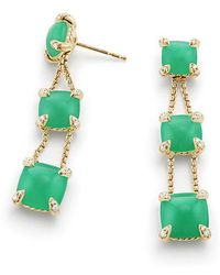 David Yurman - Chatelaine® Linear Chain Earrings With Chrysoprase And Diamonds In 18k Gold - Lyst