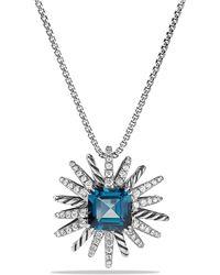 David Yurman - Starburst Pendant Necklace With Hampton Blue Topaz And Diamonds, 23mm - Lyst
