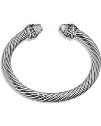 David Yurman - Cable Classic Crossover Bracelet With Prasiolite And Diamonds, 7mm - Lyst