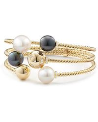 David Yurman - Solari Three-row Bracelet With South Sea White Pearl, Tahitian Grey Pearl And Diamonds In 18k Gold - Lyst