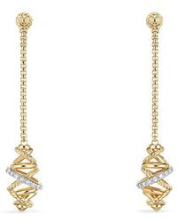 David Yurman   Crossover Chain Drop Earrings With Diamonds In 18k Gold , 54mm   Lyst