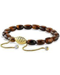 David Yurman - Spiritual Bead Bracelet With Tiger's Eye And Diamonds In 18k Gold - Lyst