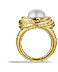 David Yurman | Crossover Pearl Ring With Diamonds In 18k Gold | Lyst