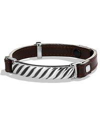 David Yurman - Modern Cable Id Bracelet In Brown Leather - Lyst