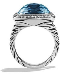 David Yurman - Albion® Ring With Blue Topaz And Diamonds, 14mm - Lyst