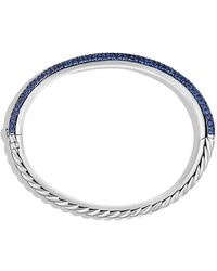David Yurman - Limited Edition Pavé Cable Bangle With Sapphires In White Gold - Lyst