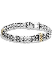 David Yurman - Cable Classic Two-row Chain Bracelet With 18k Gold - Lyst