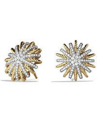 David Yurman | Starburst Earrings With Diamonds In 18k Gold, 18mm | Lyst