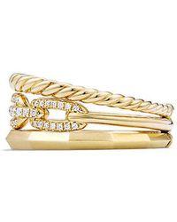 David Yurman - Stax Narrow Ring With Diamonds In 18k Gold, 9.5mm - Lyst
