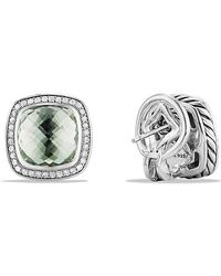 David Yurman | Albion® Earrings With Prasiolite And Diamonds, 11mm | Lyst