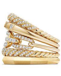 David Yurman - Stax Five Row Ring With Diamonds In 18k Gold, 21mm - Lyst