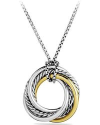 David Yurman - Crossover Small Pendant Necklace With 14k Gold - Lyst