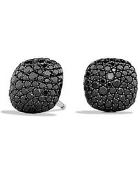 David Yurman - Pavé Earrings With Black Diamonds In 18k White Gold - Lyst