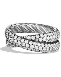 David Yurman - Crossover Ring With Diamonds In 18k White Gold - Lyst