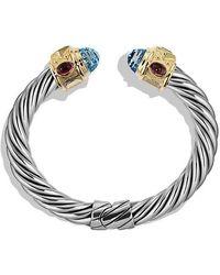 David Yurman - Renaissance Bracelet With Blue Topaz, Peridot, And 14k Gold, 10mm - Lyst