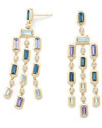 David Yurman - Novella Earrings In Hampton Blue Topaz And Tanzanite With Diamonds - Lyst