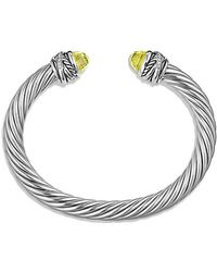 David Yurman - Cable Classic Crossover Bracelet With Lemon Citrine And Diamonds, 7mm - Lyst