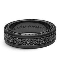 David Yurman - Streamline Two-row Pave Band Ring With Black Diamonds And Black Titanium, 7mm - Lyst