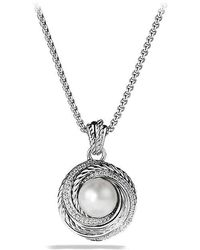David Yurman | Crossover Pearl Pendant Necklace With Diamonds | Lyst
