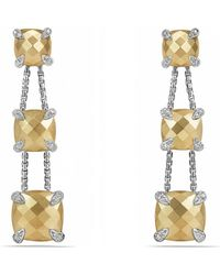 David Yurman - Chatelaine® Linear Chain Earrings With 18k Gold And Diamonds - Lyst