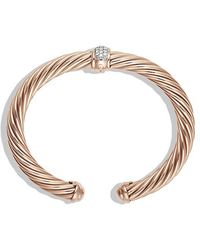 David Yurman - Cable Classics Bracelet With Diamonds In 18k Rose Gold, 7mm - Lyst