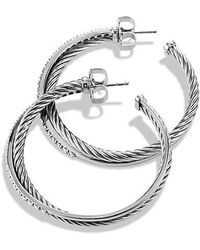 David Yurman - Crossover Extra-large Hoop Earrings With Diamonds - Lyst