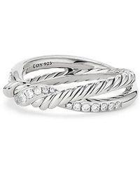 David Yurman - Continuance Twist Ring With Diamonds - Lyst