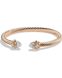 David Yurman - Renaissance Bracelet With Diamonds In 18k Rose Gold, 5mm - Lyst