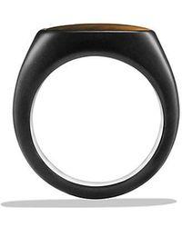 David Yurman   Exotic Stone Signet Ring With Tiger's Eye In Black Titanium   Lyst
